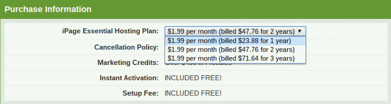 Default Pricing Structure